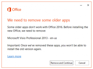 Subtle error message prompting removal of Office 2013 stand-alone apps