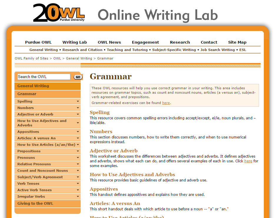 Purdue owl online writing lab