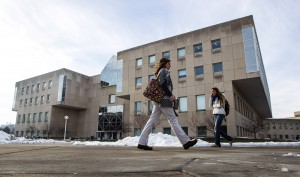 Students walk in front of University Library as they go to classes Tuesday, January 8, 2013.