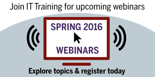 Join IT Training for upcoming webinars