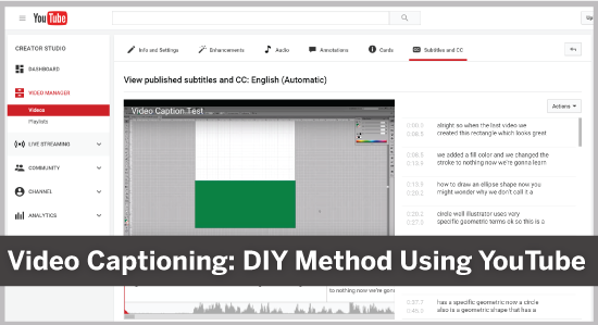 Video Captioning: DIY Method Using YouTube