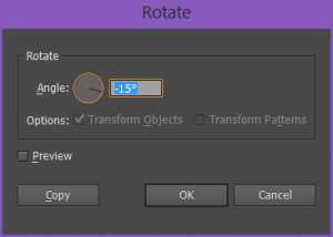 Rotate dialog box in Illustrator CC 2015