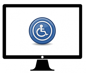 Computer screen and wheelchair symbol illustration.