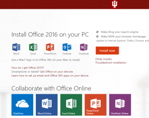 Screenshot of Office 2016 install page.