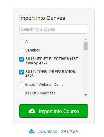 The Import Into Canvas option.