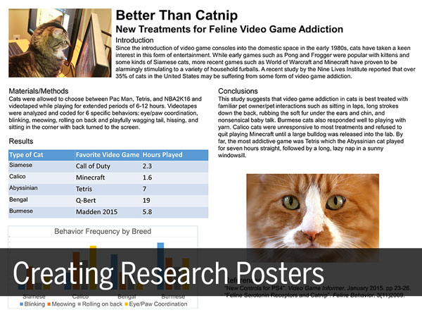 A research poster about cats playing video games, with the text Creating Research Posters superimposed over the bottom of the image.