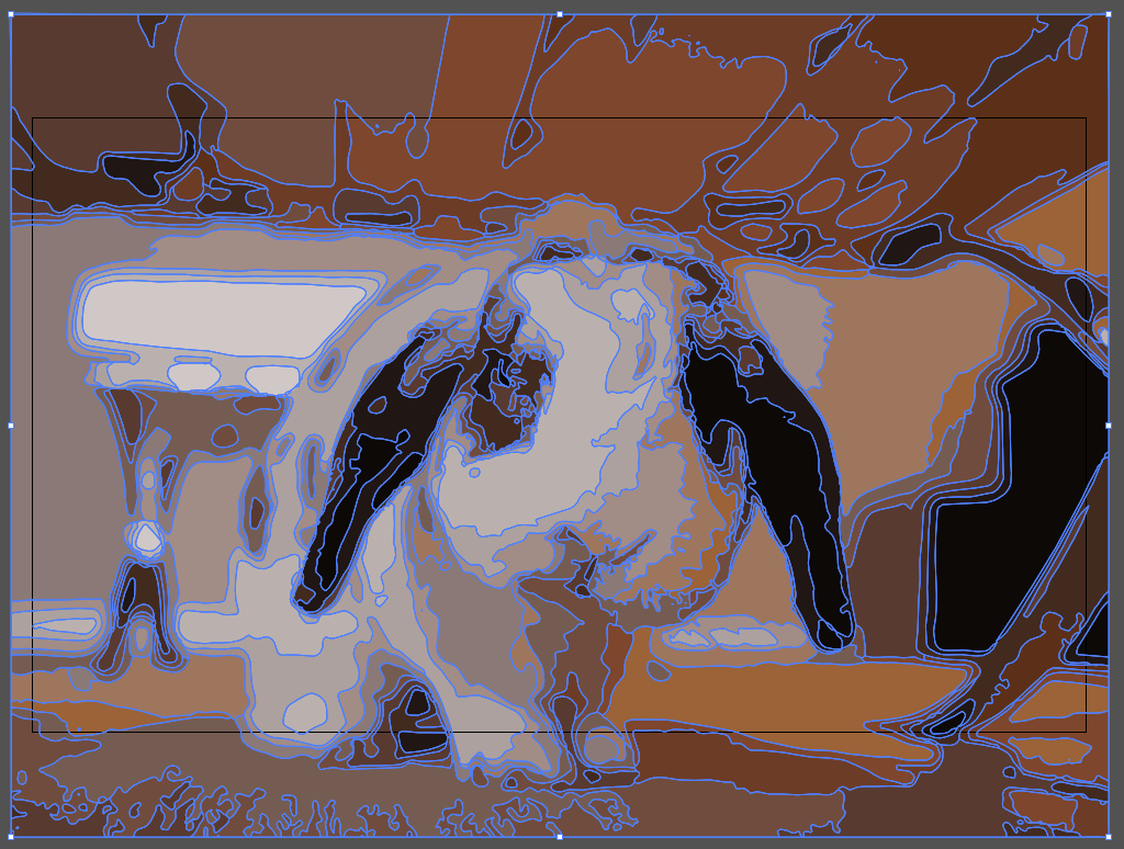 The rabbit image from Illustrator, with blue lines illustrating where paths are in image.