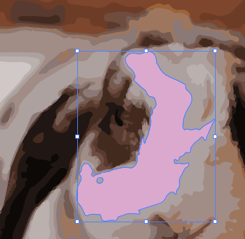 Close-up of the rabbit image in Illustrator, with the path selected in the previous image filled with pink.