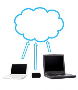 This illustration shows three devices, each with an arrow pointing to a cloud above the devices.